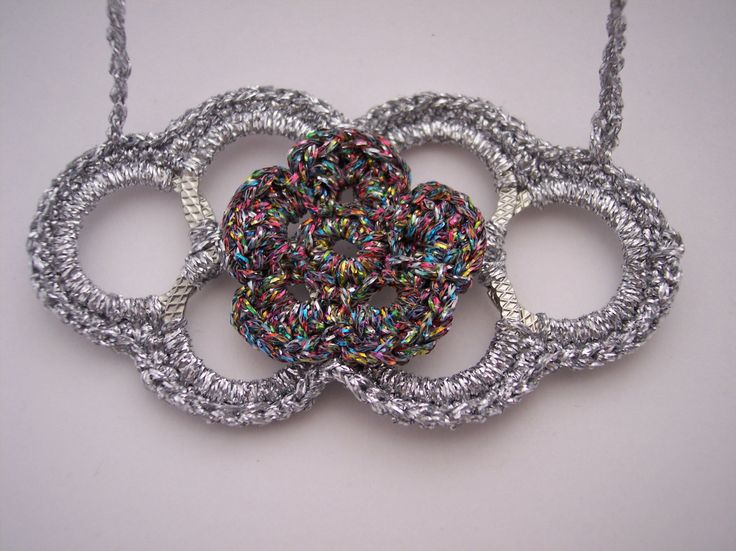Handmade necklace crochet with metallic yarn - pinned by pin4etsy.com