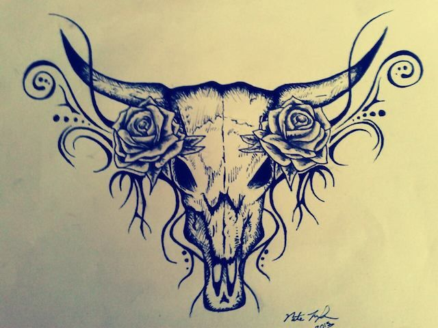 Tattoo Design - Bull Skull   MyFolio Maybe incorporate this into my sleeve? Or a seperate tattoo on it's own on my thigh?!