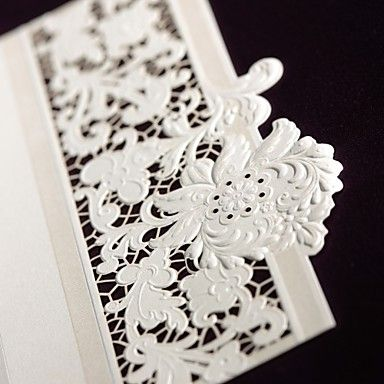 Delicate Ivory Lace Cut-out Tri-fold Wedding Invitation (Set of 50) - USD $ 59.99