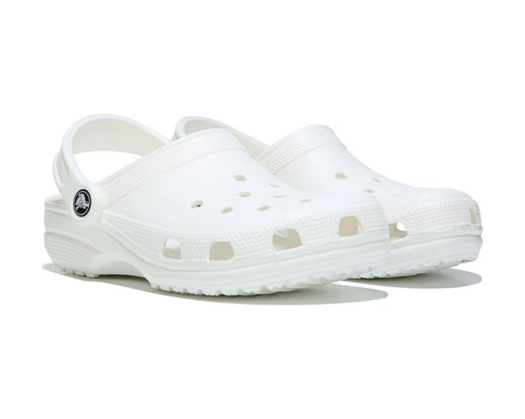 You cant go wrong with the comfort of the Classic Clog from Crocs.Fully-molded Croslite™ material upper in a casual clog style with a round toeHoles for breathabilityAdvanced toe box ventilationOdor-resistant, easy to clean, and quick to dryWater-friendly and buoyantRadically lightweightCroslite™ material heel strap for secure fitSmooth lining, contoured orthotic footbedLightweight, non-marking sole