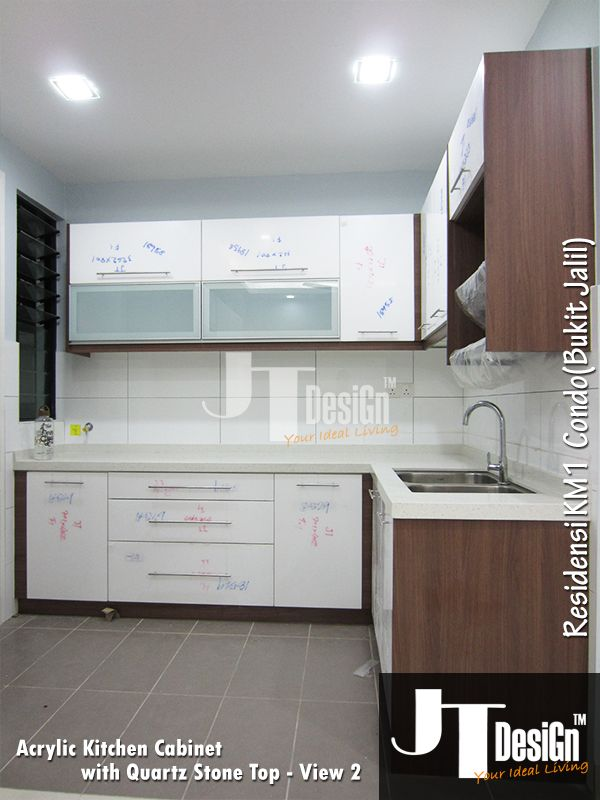 Kitchen cabinet at residensi km1 view 2 material door for Kitchen cabinets with frosted glass doors