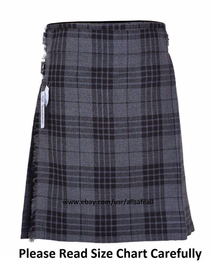 Grey Men's 5 Yard 13 Oz Casual Wear, Light Weight, Scottish Tartan Kilt #AllSafe #Kilt