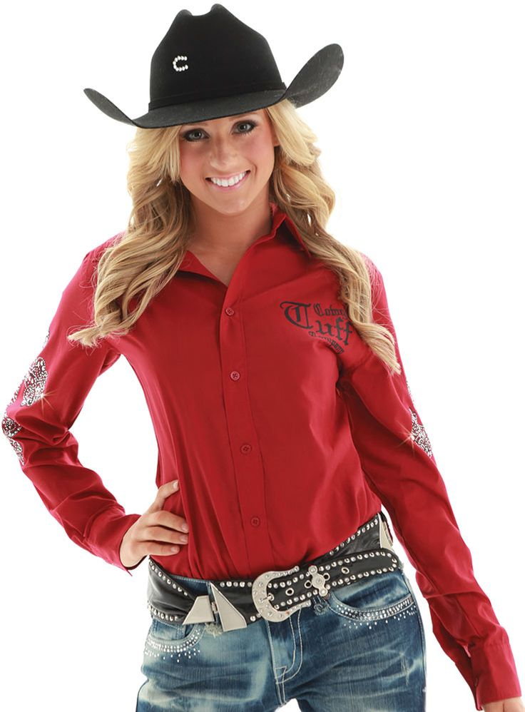"""❤ Cowgirl Country Fashion Outfits Tuff Womens Signature """"Never Give Up"""" Western Shirt"""