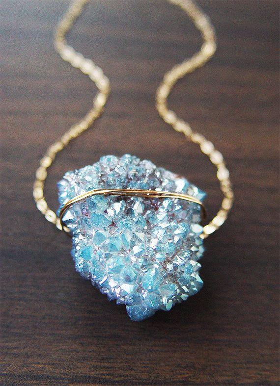 【Jewelry in My Box】Spirit Quartz Druzy Gold Necklace OOAK by friedasophie on Etsy, $89.00