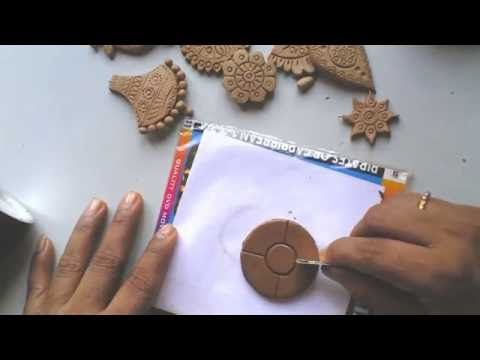 Terracotta /clay jewellery making tutorial: how to make a simple flower pendant - YouTube