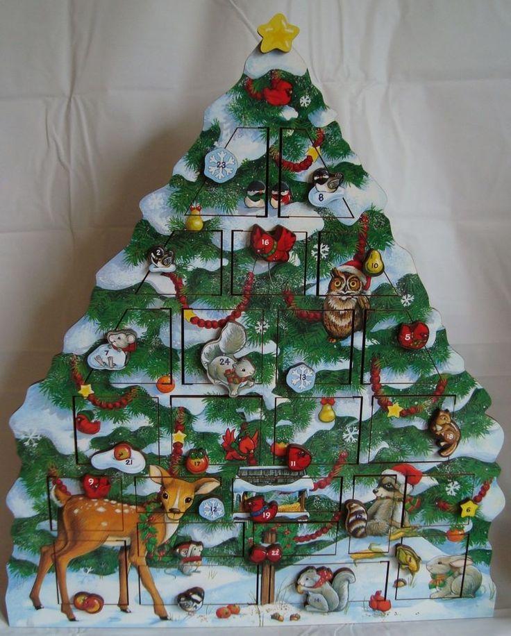 Byers Choice Wooden Advent Calendar 2006 Christmas Woodland Animals Tree  #ByersChoice