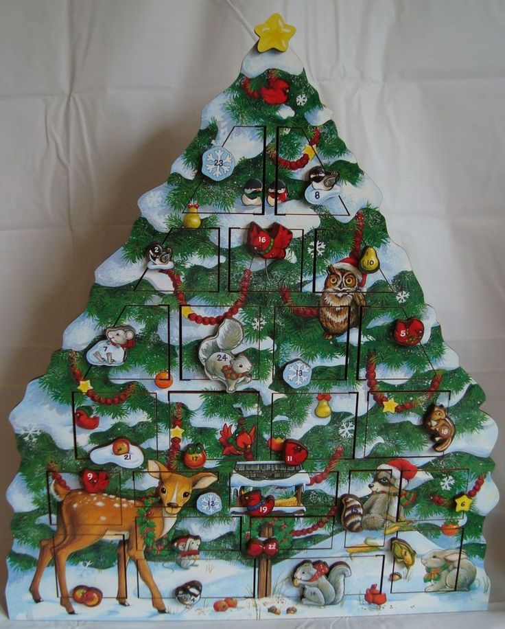 Byers Choice Wooden Advent Calendar 2006 Christmas Woodland Animals Tree  #ByersChoice