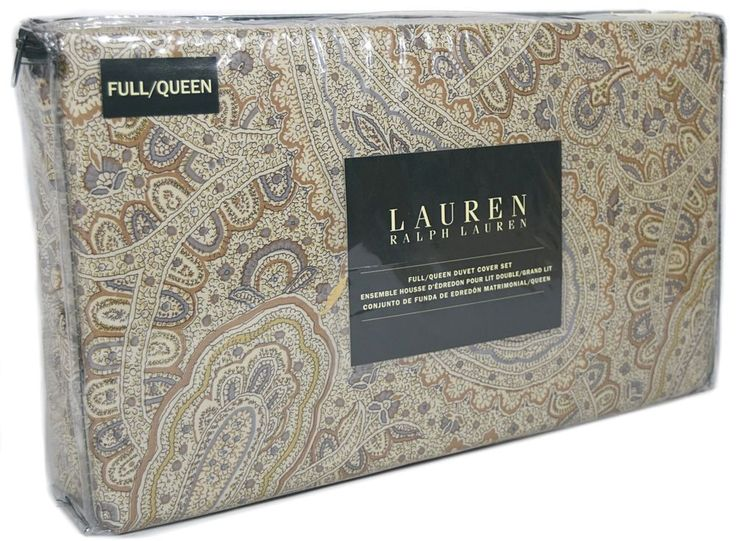 Ralph Lauren Paisley Full Queen Duvet Cover 3pc Set Taupe