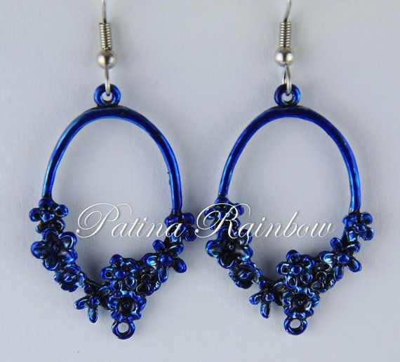 Flower Earrings Blue Patina Earrings Floral Hoops by PatinaRainbow