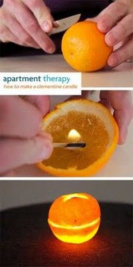 Oranges burn like candles. No messy wax, and no wick required. Who knew? I bet these smell amazing!: Orange Candles, Olives Oil, Olive Oils, Messy Wax, Orange Burning, Wicked Requir, Clementine Candles, Candles Ideas, Who Knew