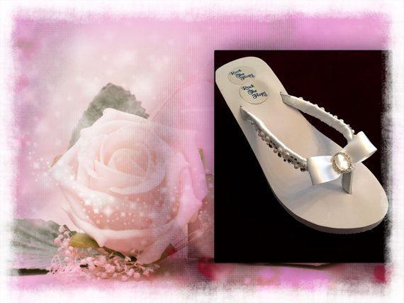 Bridal Flip Flops/wedges.Wedding Flip Flops. White by RocktheFlops
