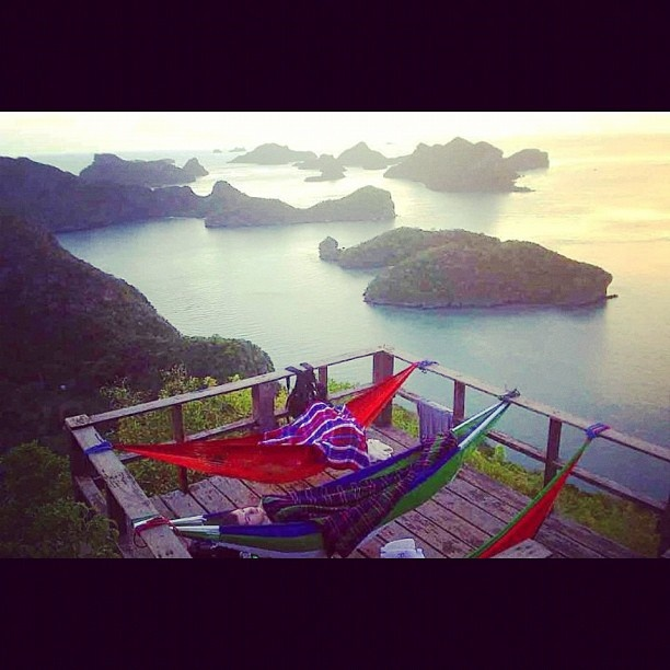 #Epic #Hammocking! On top of the viewpoint in Koh Ang Thong in #Thailand. #GetBusyLivin'