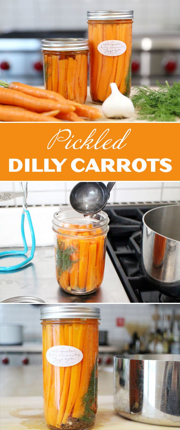 These delicious dill pickled carrots can be either canned for long term storage, or, more simply, made to be kept in the fridge for up to 3 months.