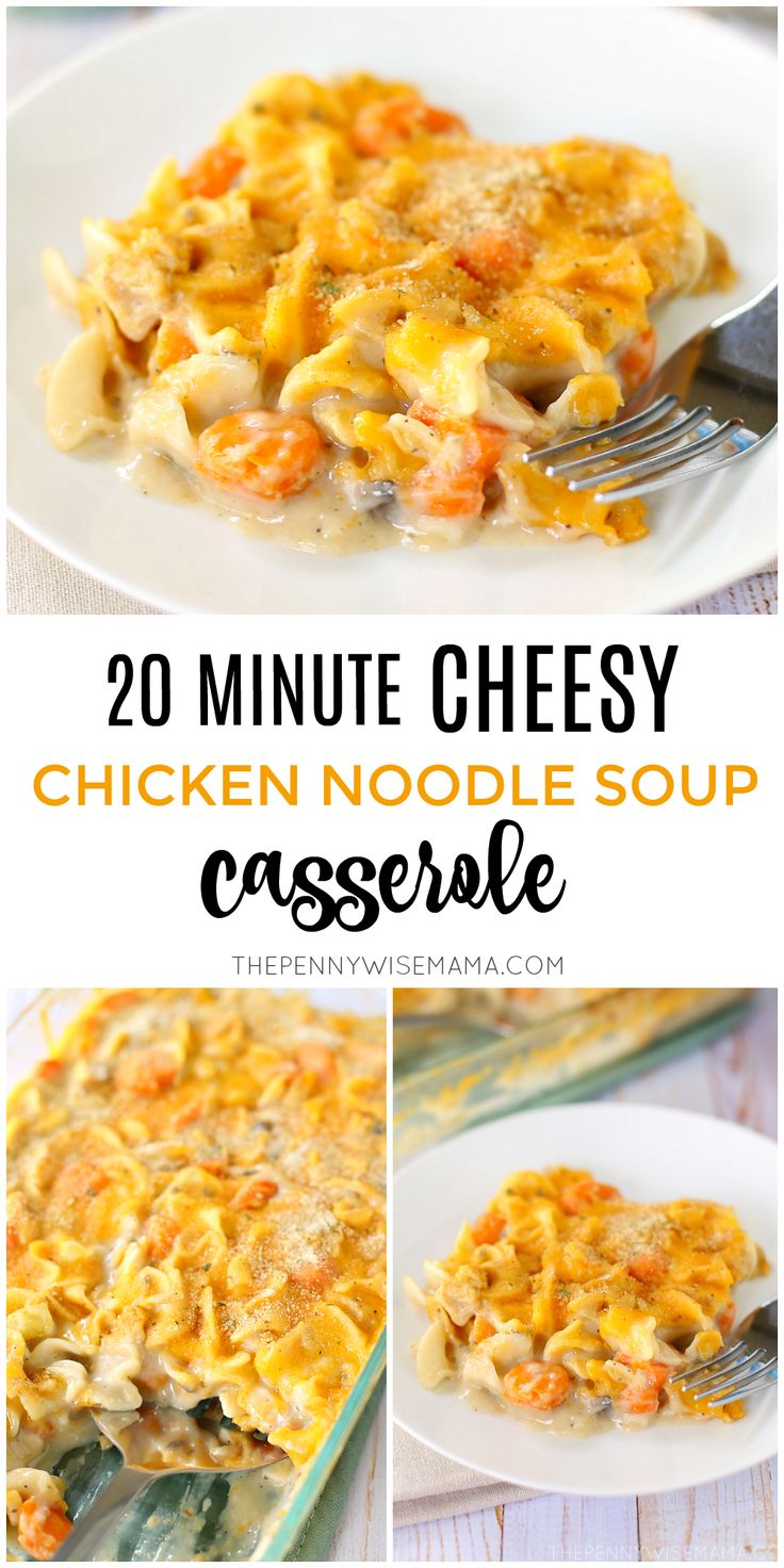 20 Minute Cheesy Chicken Noodle Casserole made with Progresso Soup - a delicious, quick and easy recipe! (ad)