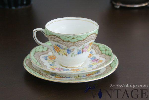 Vintage Foley Bone China Tea Cup, Saucer & Plate Set, Floral Design, Gilt Filigree. $23.00