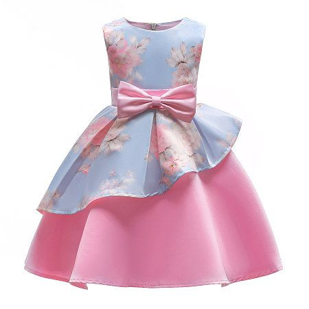 973890b0fa35 Buy Bowknot Decorated Flower Print Sleeveless Zipper Back Princess Dress  online with cheap prices and discover fashion Princess Dress at Popreal.com.