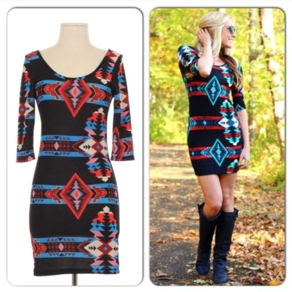 NWT 2/3 Sleeve Aztec BodyCon Dress NWT 2/3 Sleeve Aztec BodyCon Dress. This dress hugs your curves at all the right places! 2/3 sleeve length, made of polyester/spandex. (Model pic is same dress, different color) Made in the USA! PLEASE COMMENT WITH REQUESTED SIZE AND I WILL MAKE A SEPARATE LISTING TO PURCHASE No Trades and No Paypal Dresses