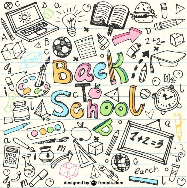 Voltar para desenhos escolares em notebook Vetor grátis