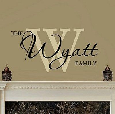 Chic Family Name Monogram Wall Lettering by WalltoWallStencils