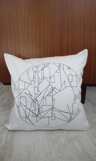 Geometric Scatter Cushion - Night Sky Blue  screen print on White cotton/linen - www.unwrapped.co.za