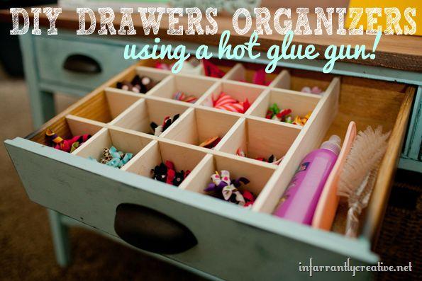 DIY Custom drawer organizers using hot glue. Removable and versatile!
