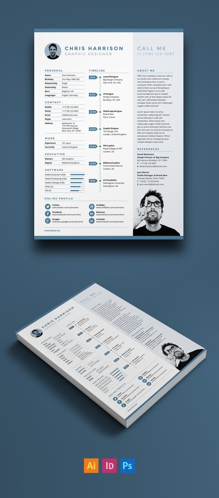 Free Resume Template for Adobe Illustrator Indesign