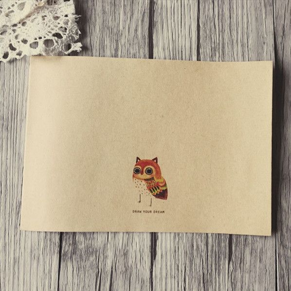 5 шт./лот 175*125 мм/НОВЫЙ Урожай Простой Симпатичные Сова серии Крафт-бумаги DIY Многофункциональный конверт/Подарочные конверты(China (Mainland))