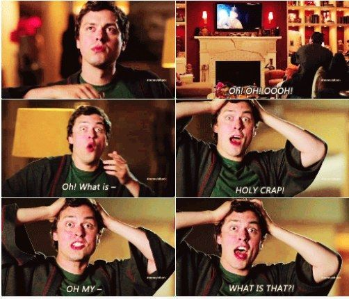 "When he scared the crap out of himself watching some late night TV. | Community Post: 23 Times Dr. Lance Sweets Was The Best Character On ""Bones"""