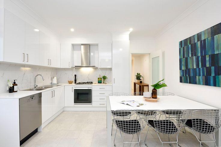 Kitchen, Dining, White, Pastel, Art, Interior Design, Steel kitchen, Lighting, Clean, For Sale, Real Estate, Pilcher Residential, Annandale