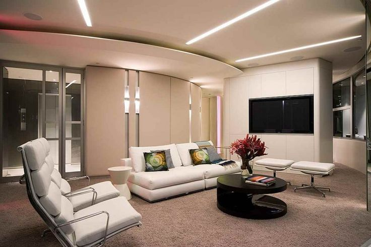 Interior Modern Apartment Design: Feels In Different Past Modern Apartment Idea With Silver Metal Frame Armchair Plus High Backrest Mix White Loveseat Also Contrast Colors Cushions And Neon Ceiling Light