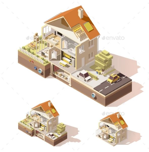 Vector Isometric Low Poly House Cross Section Vektor