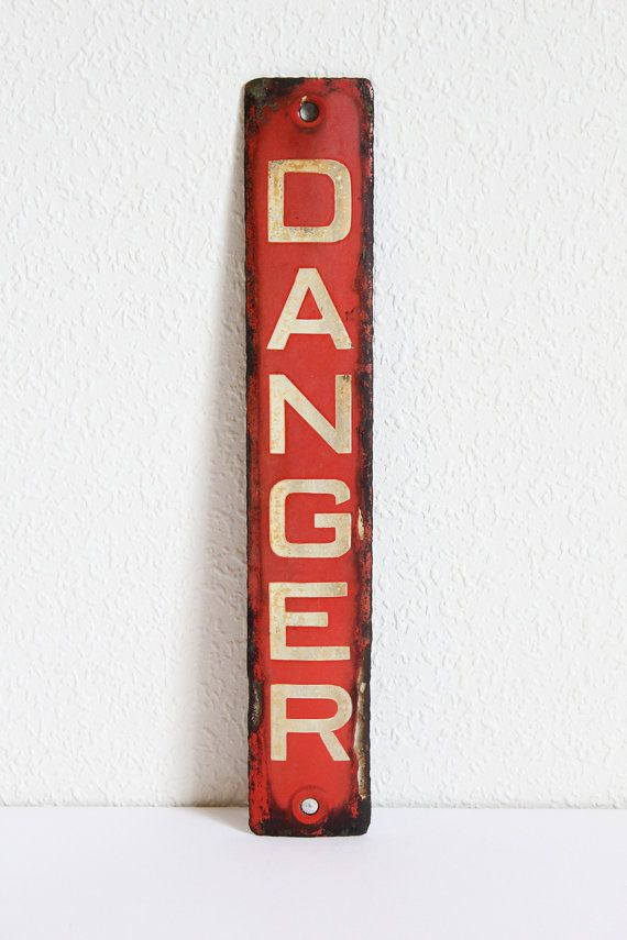 Vintage Enamel Metal Danger Sign Red with White by emmalovesxxx