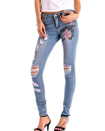 Femmes Skinny Jeans Dechire Pantalon Fleurs Brodees Stretch Slim Fit