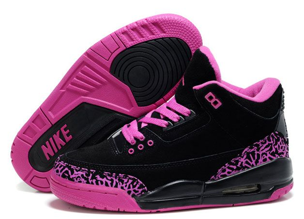 women jordan shoes | ... Womens Air Jordans 3 Fluff Black Pink] - $82.00 : Jordan Shoes Free