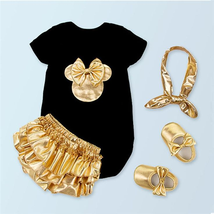 Baby Girl Clothing Sets Black Cotton Rompers + Golden Ruffle Bloomers Shorts +Shoes +Headband Infant Newborn Clothes