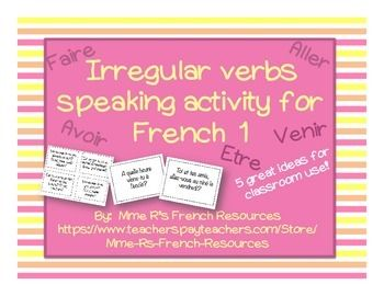 Need a way to practice avoir, être, faire, aller, and venir with your French 1 and 2 kids?  Kids love this, because they get to get up and move! This set of 36 questions is perfect for practicing all verbs together in a French 1 or French 2 class.  Each page contains 4 questions, each inside a decorative border.