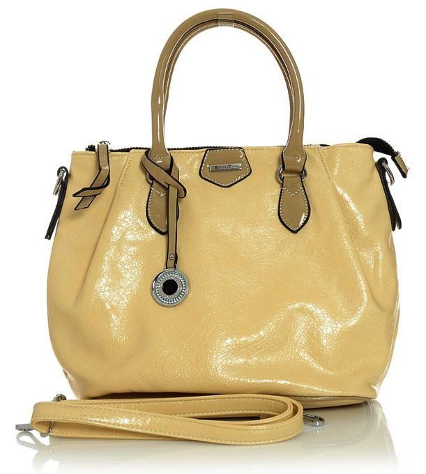 Elegancka torebka kuferek jasny beż AUGUSTA CLASSIC