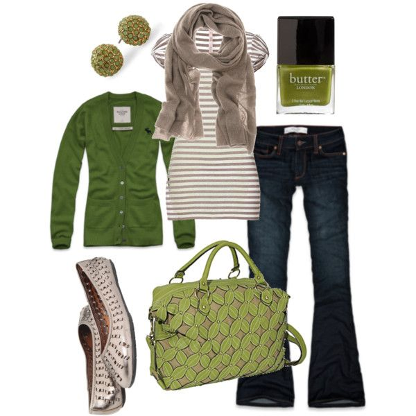 Fall Outfit: Green And Gray, Color, Green Outfits, Fall 2013, Outfits Ideas, Nails Polish, Fall Fashion, Casual Outfits, Green Nails