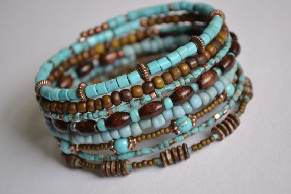 Turquoise and Brown Memory Wire Bracelet Boho Wrap by IvysPebbles