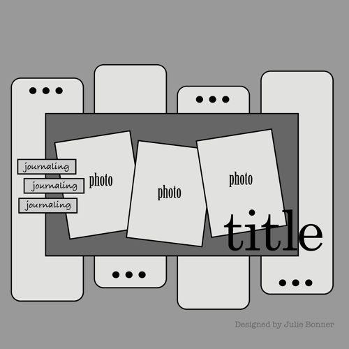 Scrapbook page layout sketch- 3 photos