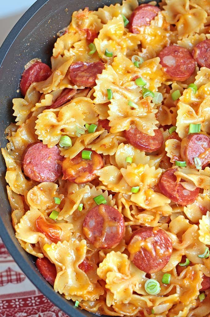 It's a cheesy pasta dish with Kielbasa sausage and garnished with chopped scallions. Enjoy!