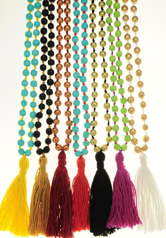 Boho wood lime beads with pink tassel long by SinPermiso on Etsy, $10.00