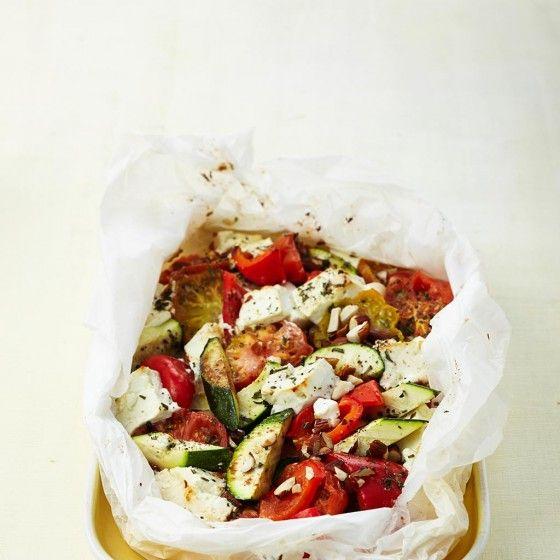 Feta und Gemüse aus dem Ofen