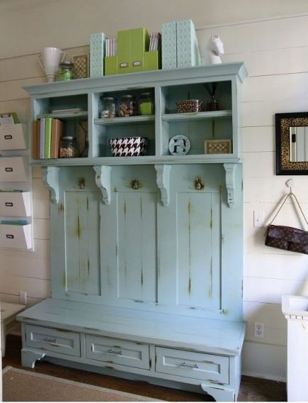 hall storage furniture painted Benjamin Moore Wyeth Blue
