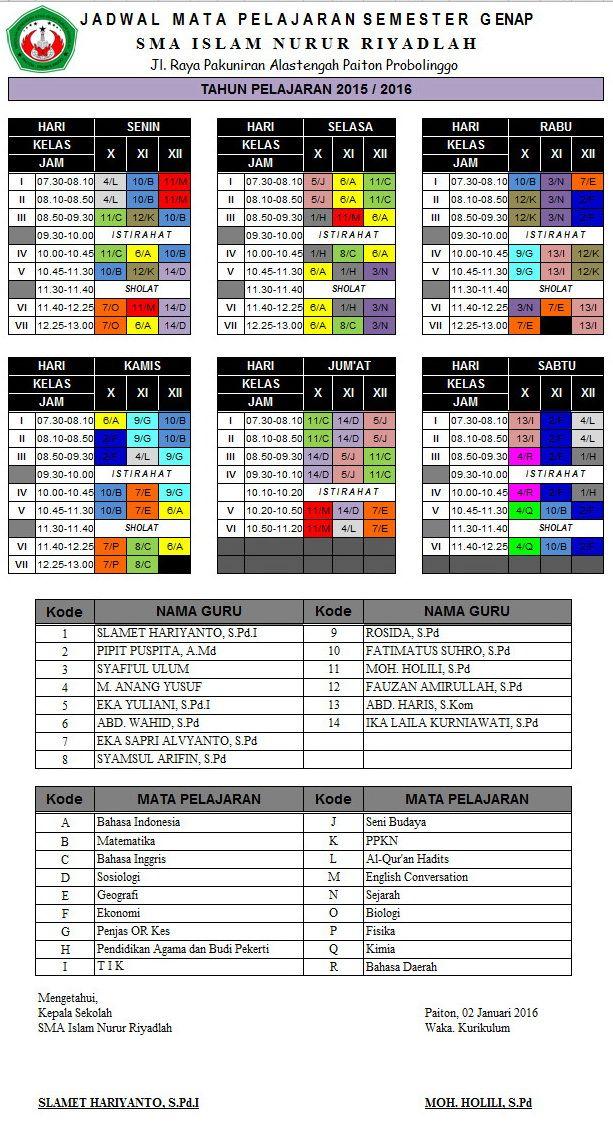 SMA  ISLAM NURUR RIYADLAH: Jadwal Pelajaran Semester Genap 2015/2016