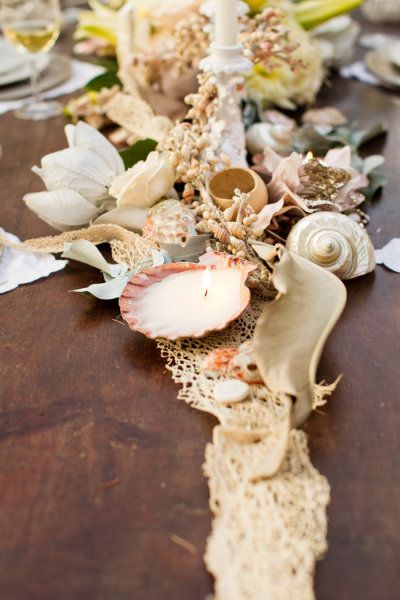#seashells #centerpiece Photography by mikelarson.com Art Direction, Styling, Floral Design + Stationery by alchemyfineevents.com  Read more - http://www.stylemepretty.com/2012/12/21/mike-larson-tuscany-workshop-from-alchemy-fine-events/                                                                                                                                                                                 More