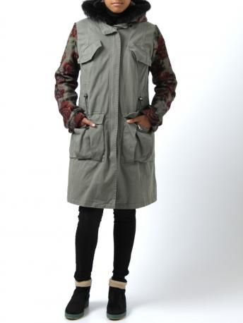 Parka by Project--[Foce]--Singleseason - parka model maria in gray color - khaki-gray parka, long sleeves and hood with roses printed. Removable padded interior with haired bib and hood. Four pockets. Zipper closure. Made in Italy. Project Foce Singleseason Fall Winter 2013-2014 Collection.