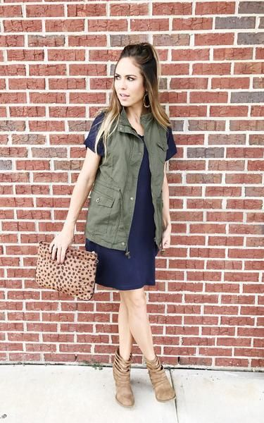 Military Vest outfit with Leopard Clutch, Booties, and T-shirt dress