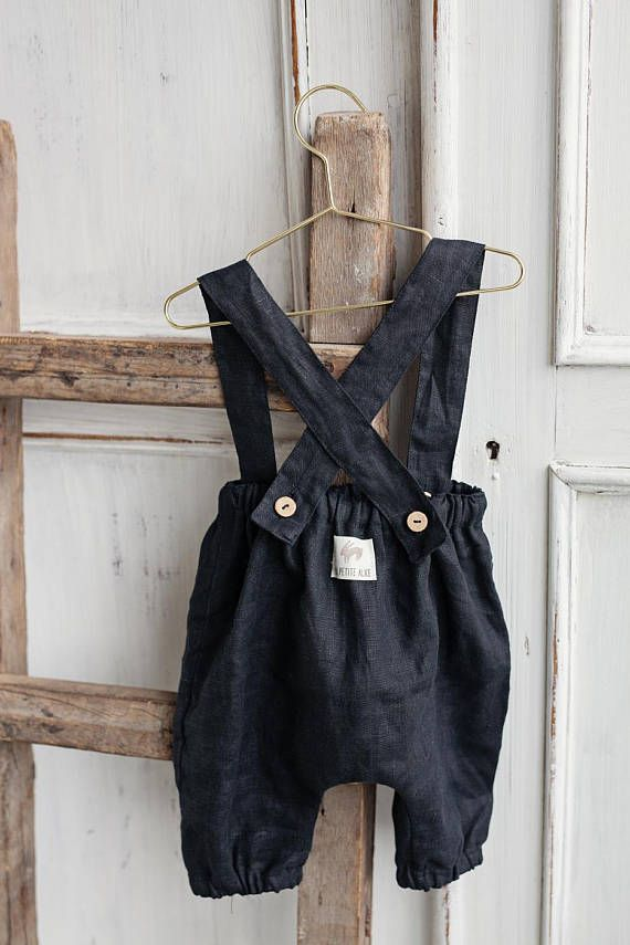 Linen Baby Trousers Black Pants with suspenders Wa…