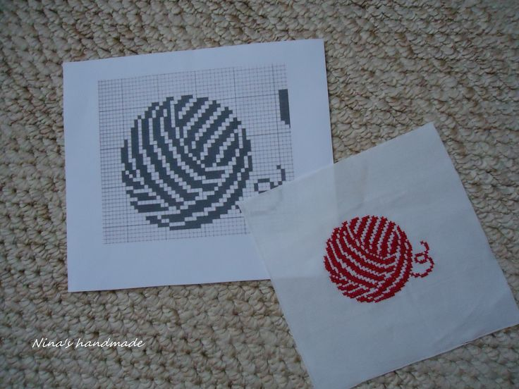 pattern #4/ cross stitch redwork on wasted canvas